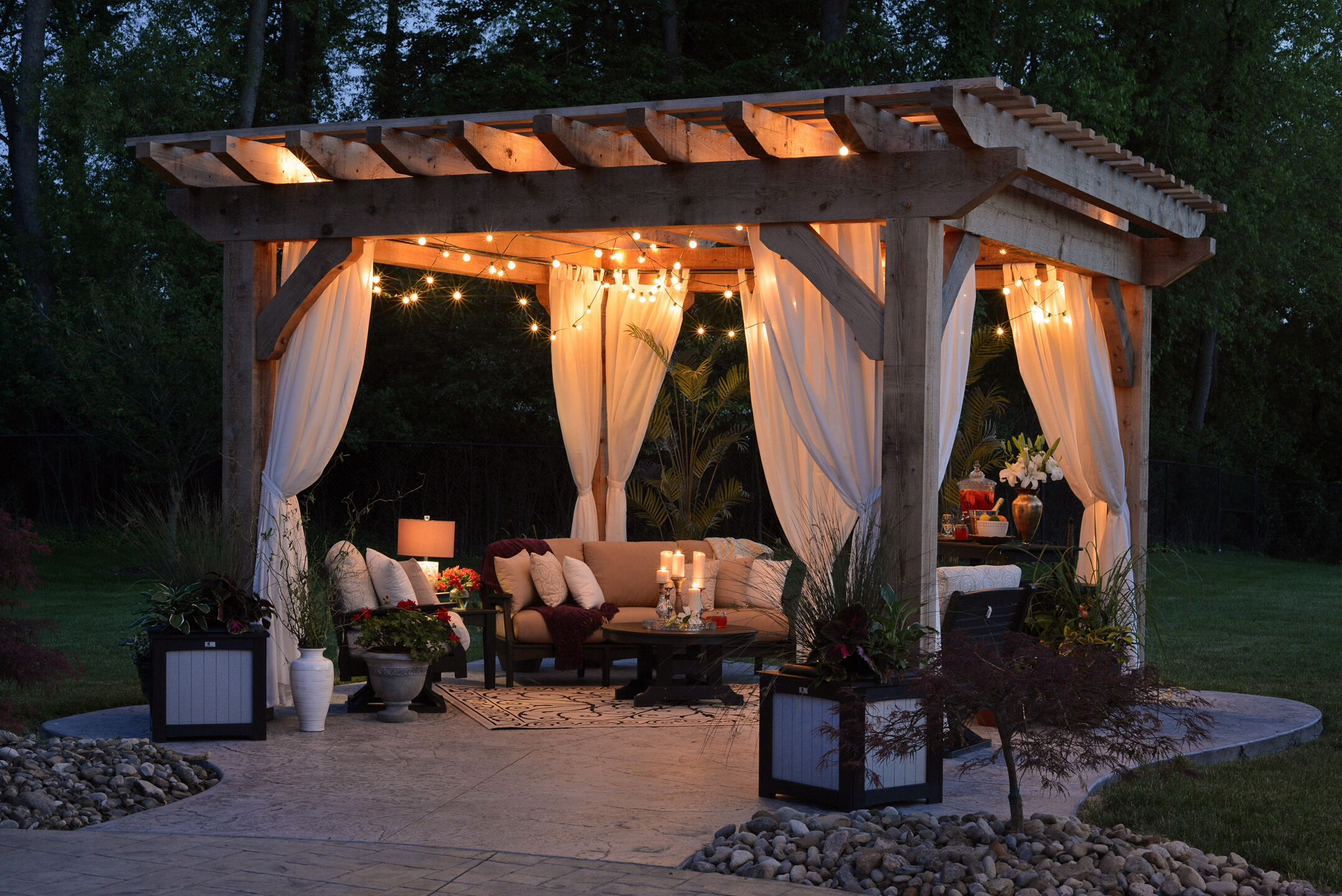 Outdoor Pergola with Curtain