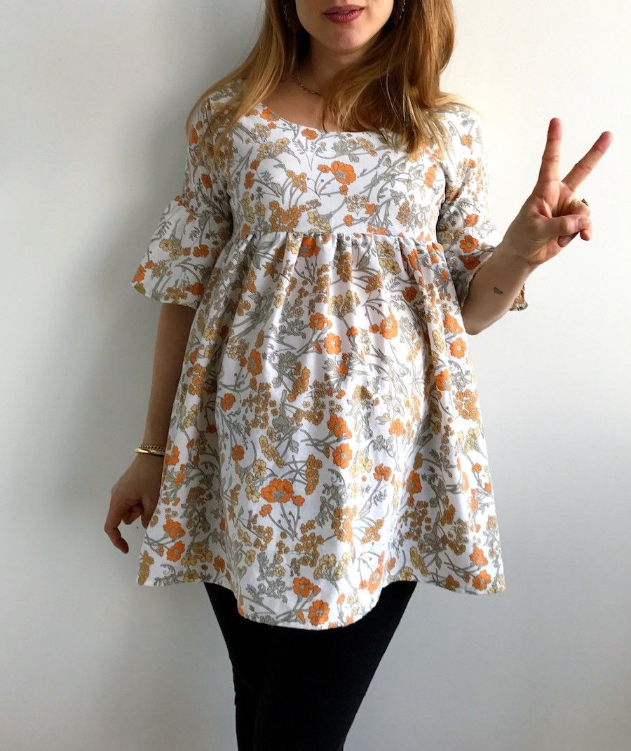 Maternity sewing #2 - 70s style empire line ruffle sleeve easy top ...