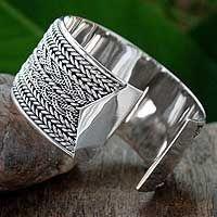 Sterling silver cuff bracelet, 'Wicker Weave' by NOVICA
