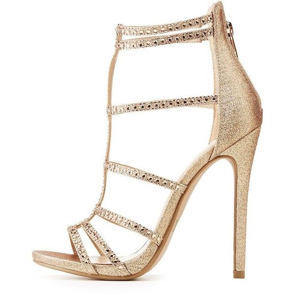 1e3b4af7d65 Charlotte Russe Crystal Embellished Caged Dress Sandals ( 25) ❤ liked on Polyvore  featuring shoes