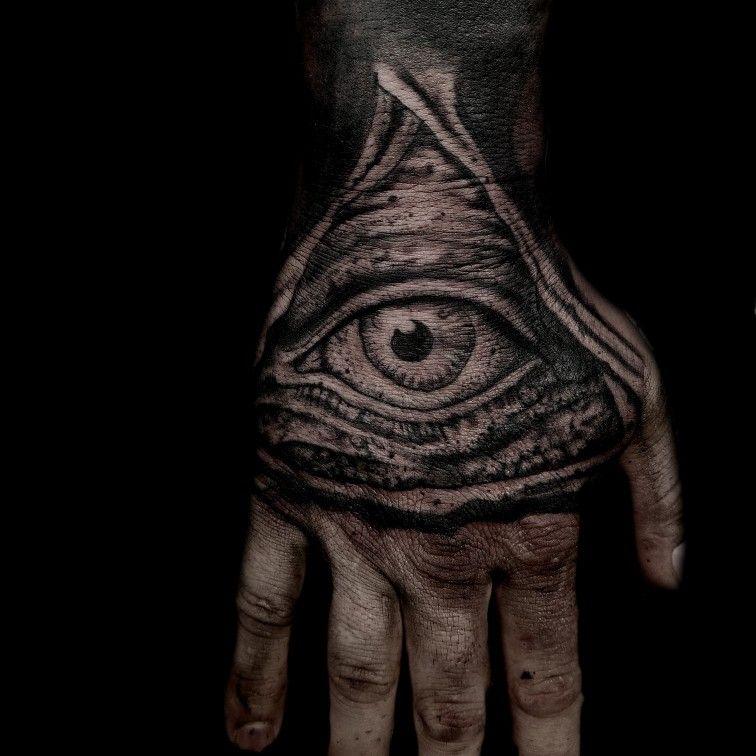 All Seeing Eye Hand Tattoos Dark Tattoos Black And Gray Freehand Tatuagem Na Mao Maos Tatuagem