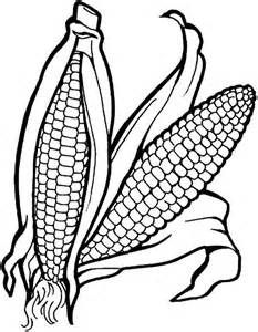 Pair Of Corn Vegetables Coloring Page