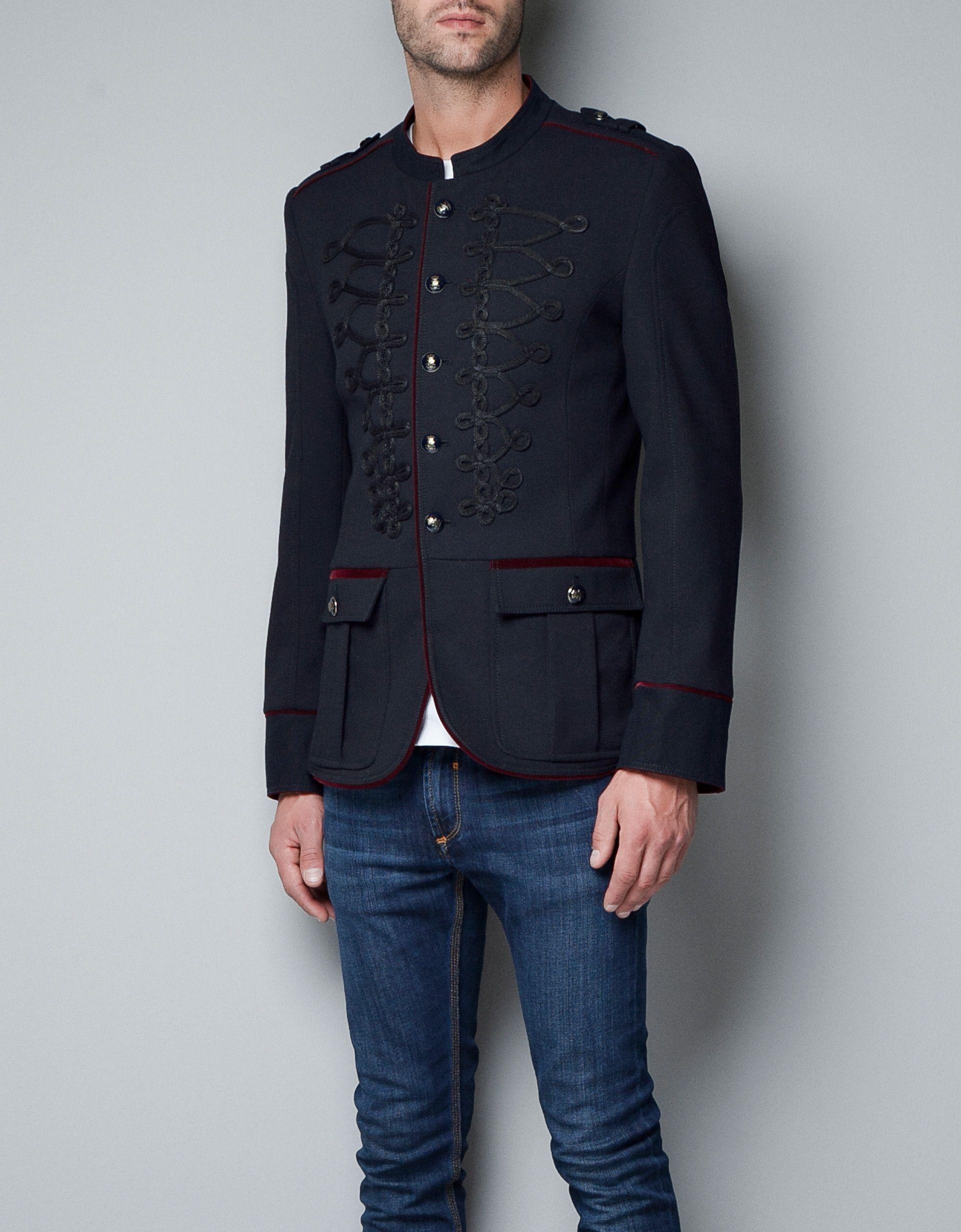 giacca militare alamari blazer uomo zara italia. Black Bedroom Furniture Sets. Home Design Ideas