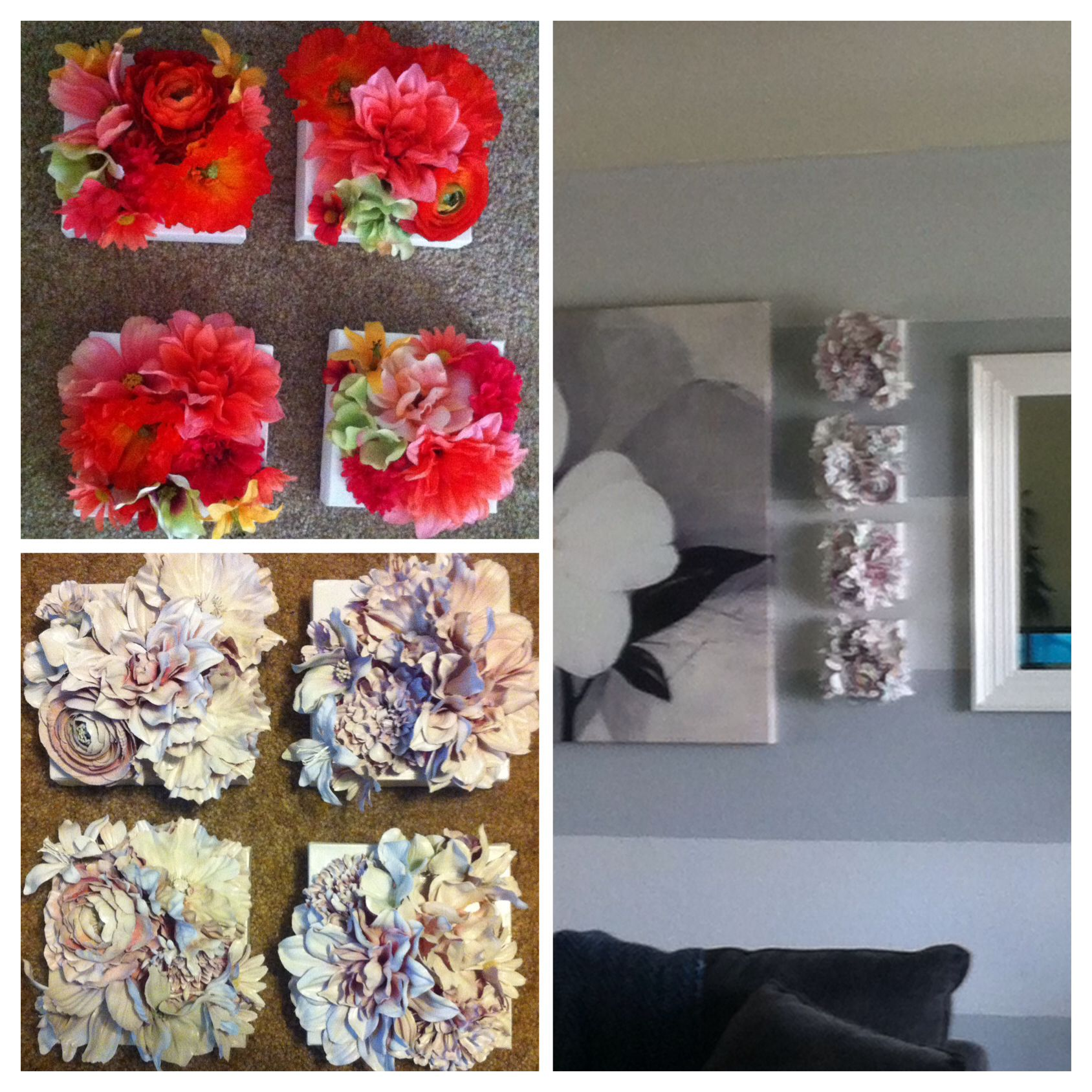 Crafty silk flowers hit glued onto canvas and then spray painted silk flowers hit glued onto canvas and then spray painted mightylinksfo
