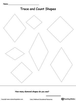 trace and count diamond shapes shapes worksheets shapes worksheets shape worksheets for. Black Bedroom Furniture Sets. Home Design Ideas