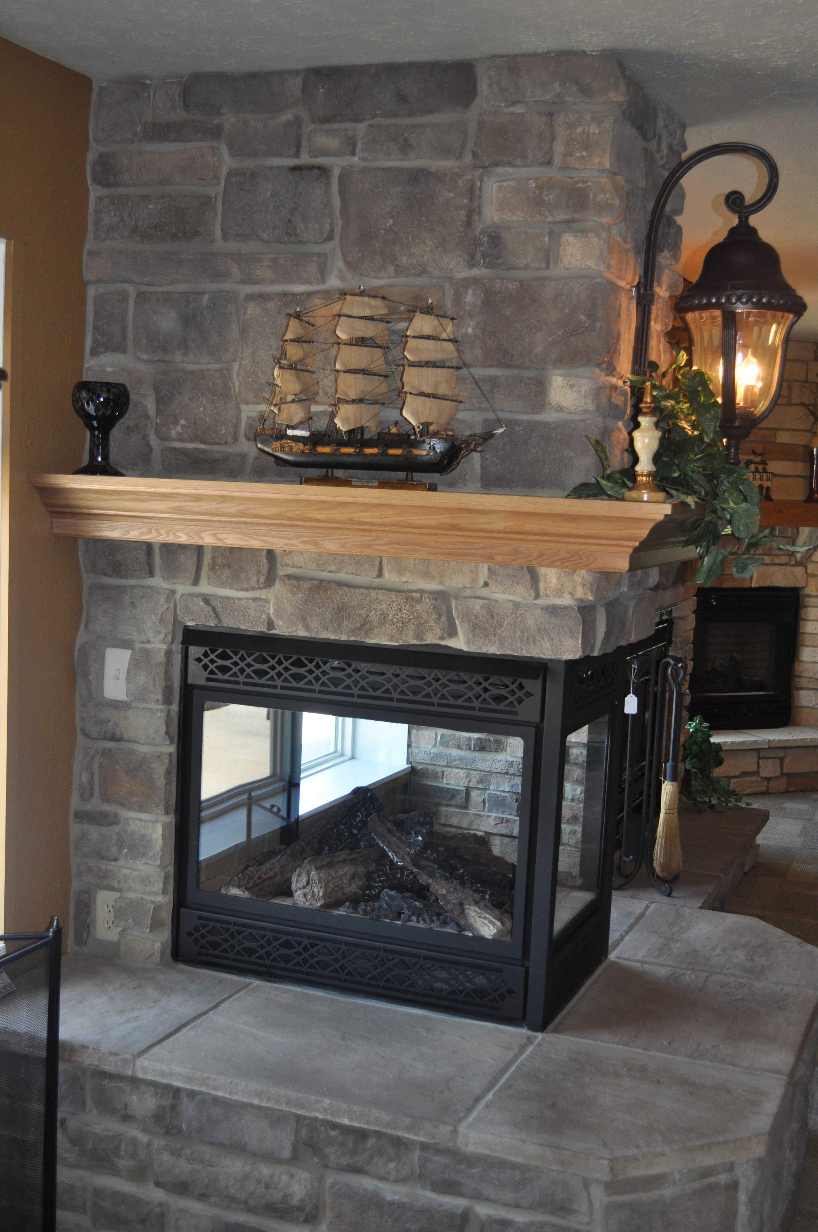 Stoned Fireplace with see through fireplace and Crown Oak ...