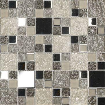 Beige Metal Textured Glass Mosaic Kitchen Backsplash Tile 12 X