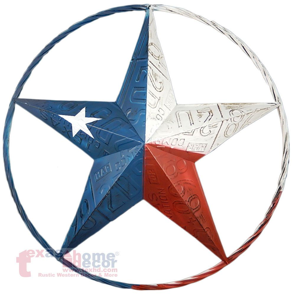 Texas Flag Barn Star Metal Embossed License Plate Western Wall Decor Rustic 24 674956217999 Ebay Stars Wall Decor Western Wall Decor Decorative Wall Plaques