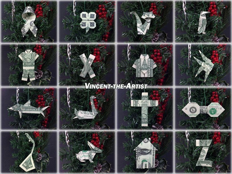 Christmas Tree Ornaments - Money Origami