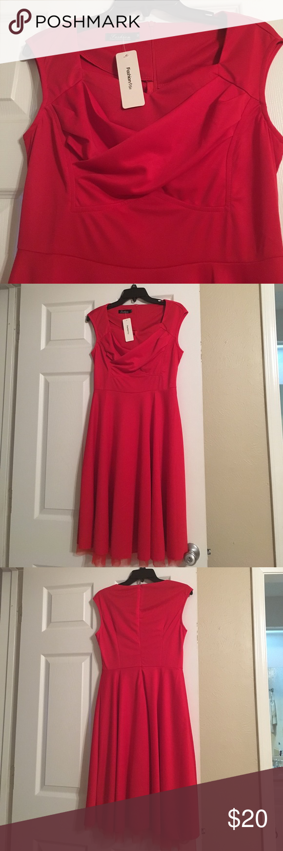 Red dress Brand new with tags. I bought it and never wore it. Now it's to big for me. Size M. Like an 8. fashion mia Dresses Midi