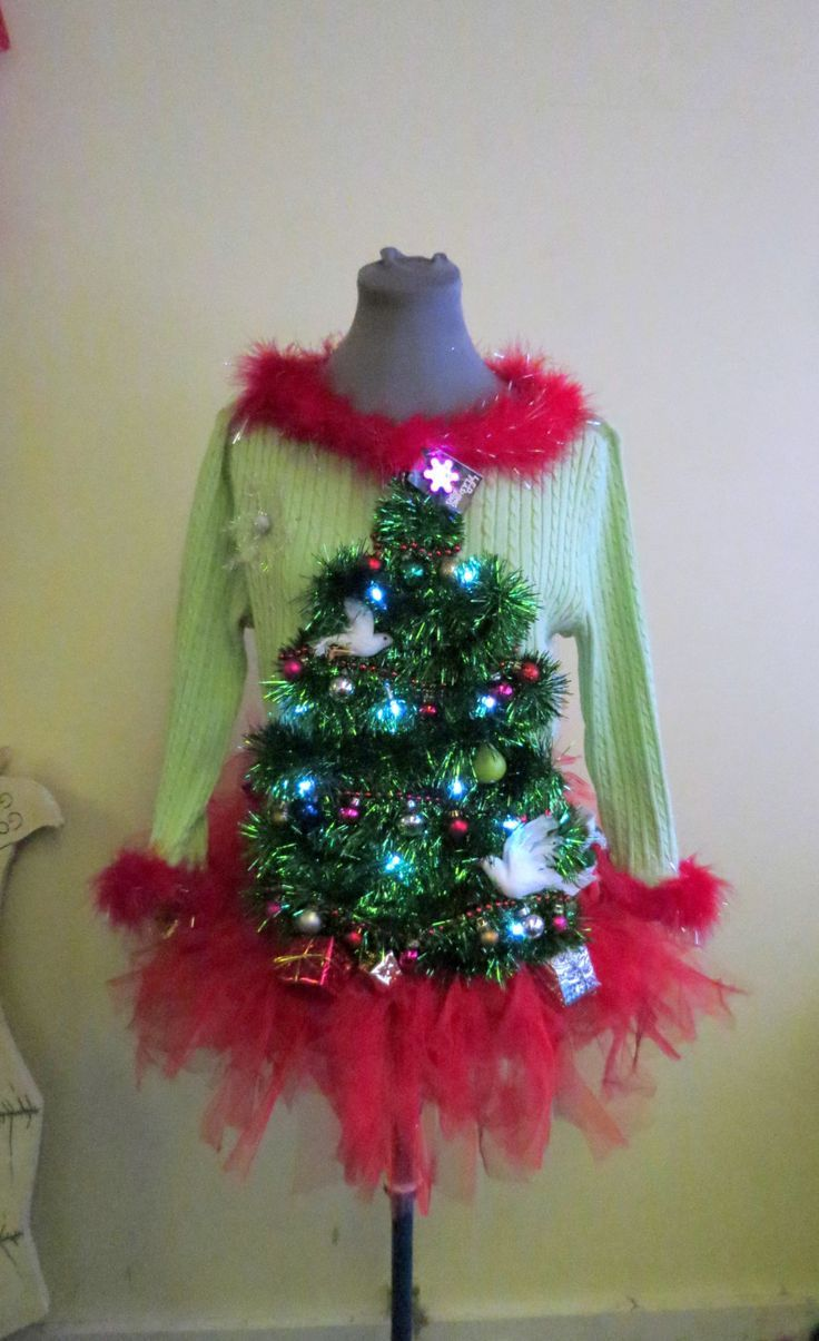 5a6dc5950 Adorable 2 doves & a Pear in Garland Christmas Tree Ugly Christmas Sweaters Light  UP sz L With matching TuTu Tree Skirt w presents Womens by ...