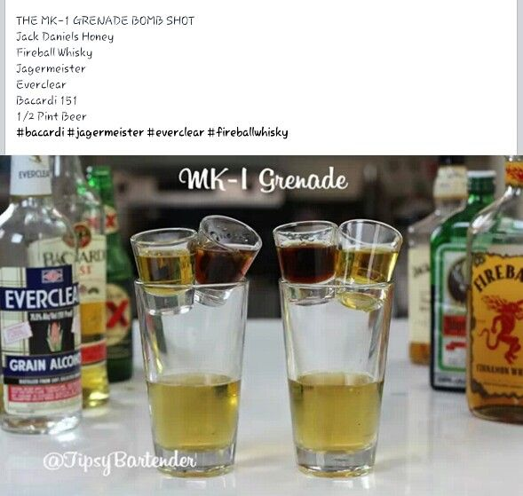 MK-1 Grenade Bomb shot (Jack Daniels honey, fireball whiskey