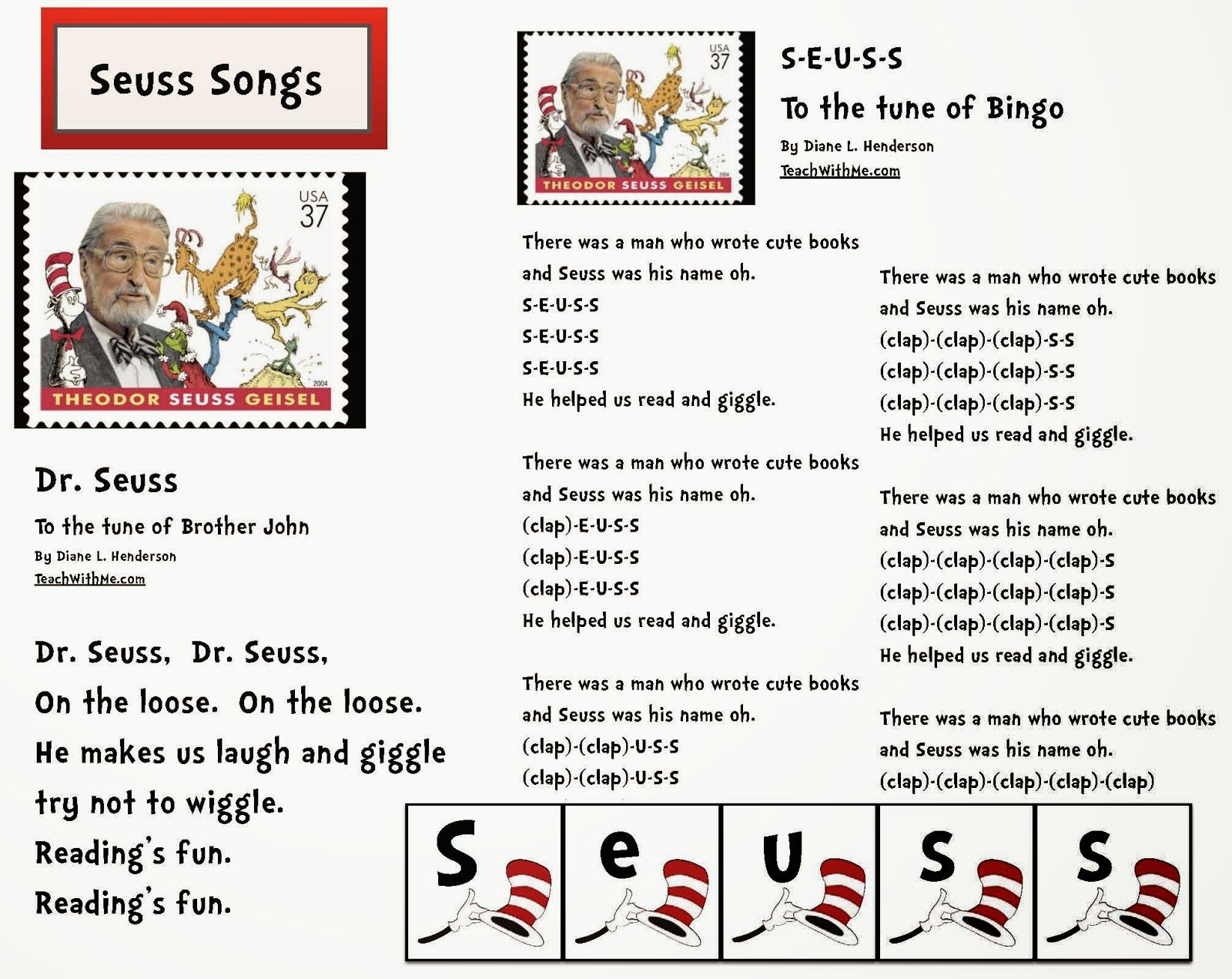 Dr Seuss Activities Songs For Seuss