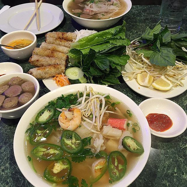 Shrimp pho and imperial rolls for