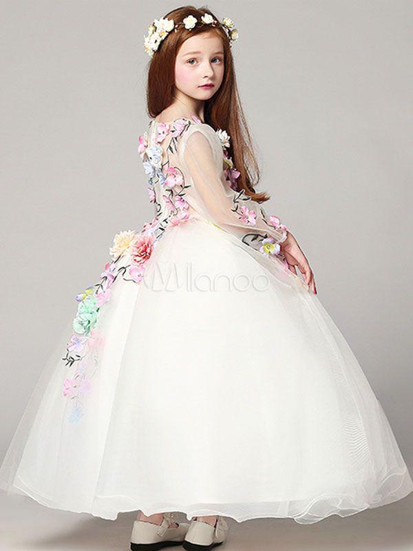 752b70ad9be Princess Flower Girl Dresses White Floor Length Applique V Neck Tulle Long  Sleeve Kids Pageant Dresses-No.3