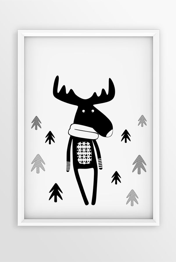 Dear deer comes to the neighborhood! Scandinavian design | Woodland nursery decor | Monochrome print | Black and white design for wall | Wall Art | Nordic prints