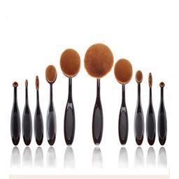 Shaped Oval Makeup Brushes Set Of 10 Massgenie Oval Makeup Brush Set Makeup Foundation Brush Makeup Brush Set