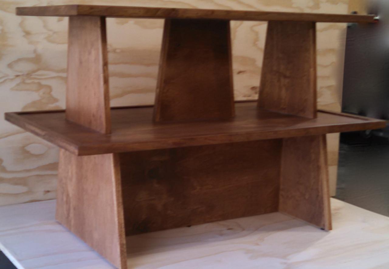 Rustic Wood 2 Shelf Double Riser Tabletop Gondola Display