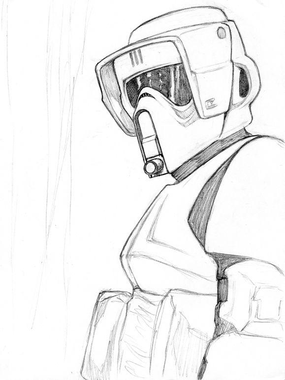 Star Wars Biker Scout Star Wars Drawings Star Wars Art Drawings Star Wars Awesome