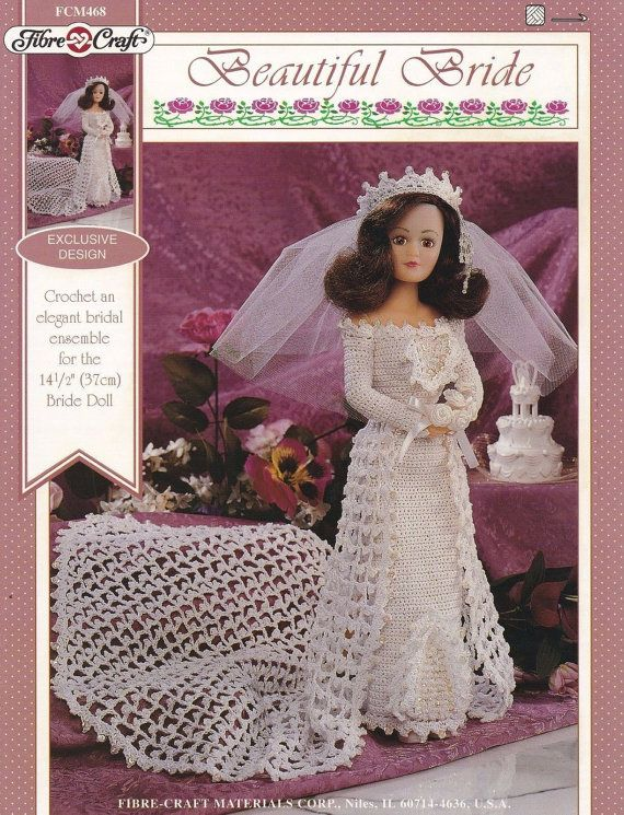 Beautiful Bride Fibre Craft Doll Wedding Clothes Crochet Pattern