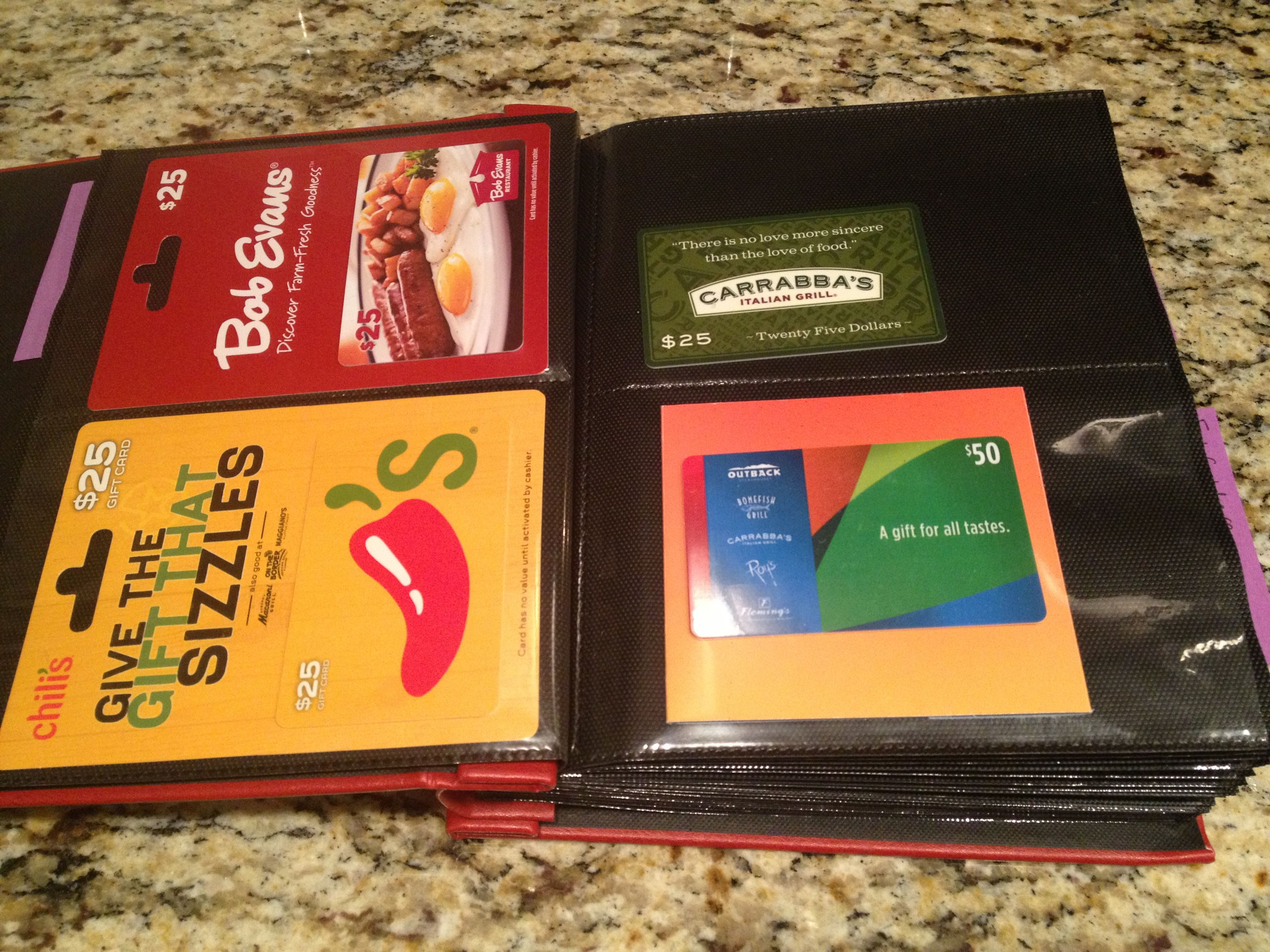 Use a photo album to organize gift cards. I used sticky