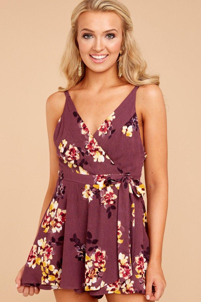 36bc5dd6713 Places To Be Purple Floral Print Romper at reddressboutique.com ...
