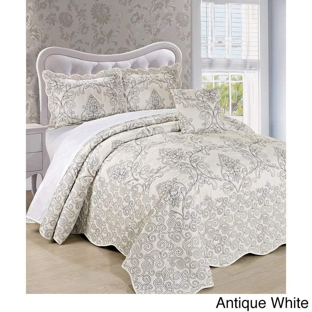 Amazonsmile 4pc 120 X 120 Natural White Oversized Damask Bedspread King Floor Polyester Hangs Over Edge Floral Bedd Damask Bedding Bed Spreads Bedspread Set