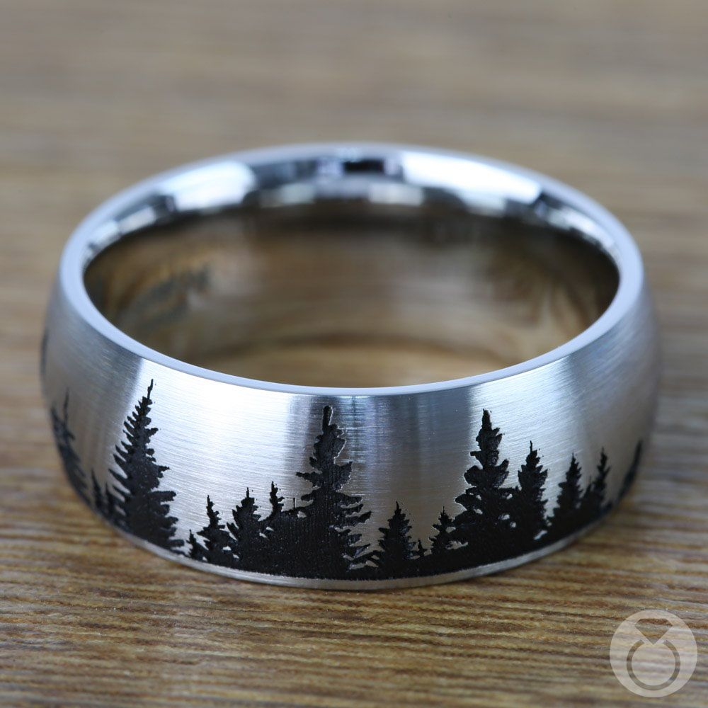 Laser Carved Pine Tree Pattern Men S Wedding Ring In Cobalt Wooden Wedding Ring Men S Wedding Ring Pretty Engagement Rings