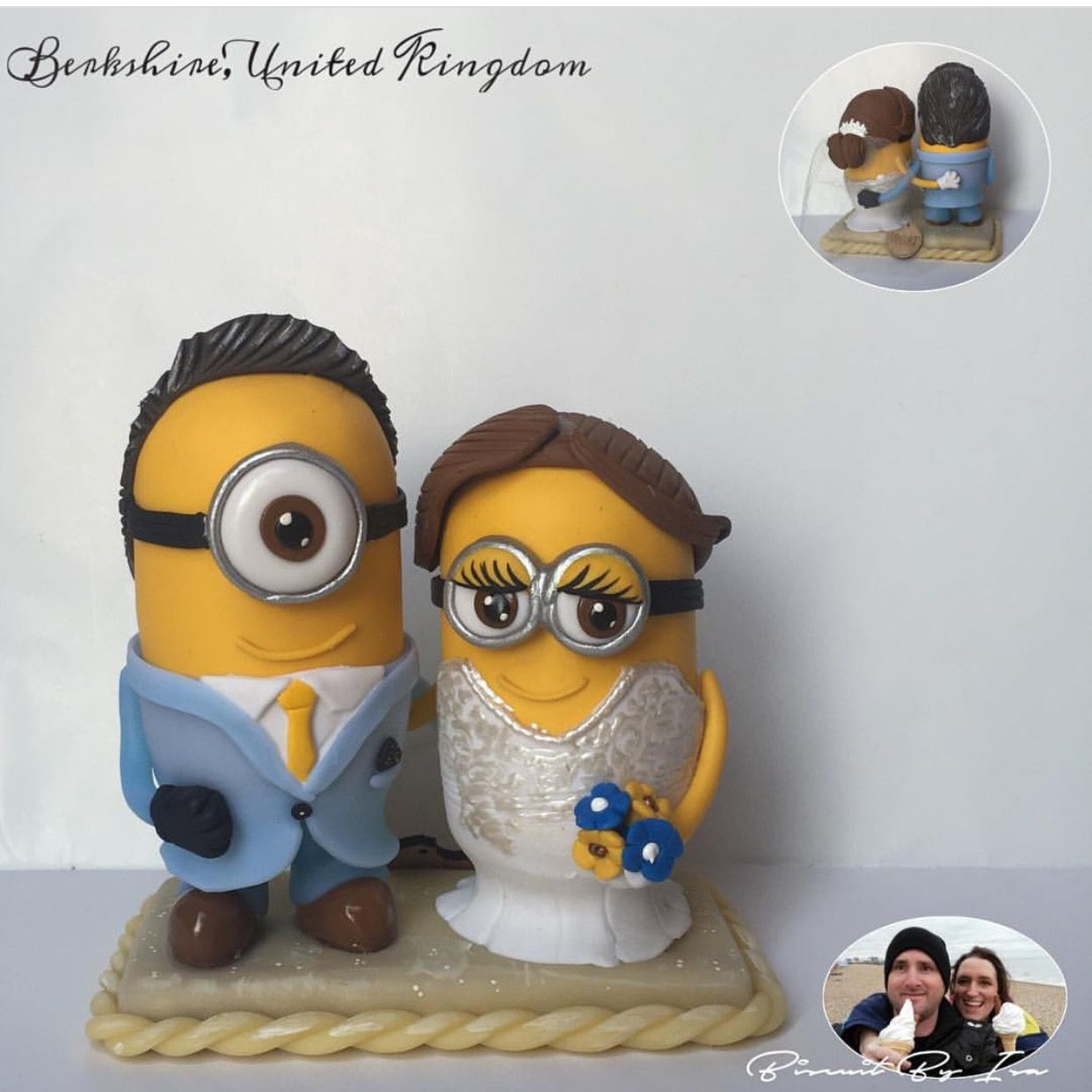Lovely custom minions wedding cake topper www.biscuitbyisa.com