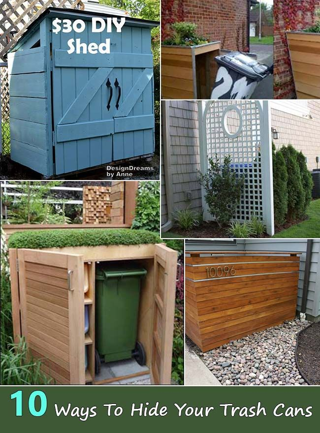 10 Ways To Hide Your Trash Cans Trash Can Storage Outdoor Outdoor Trash Cans Hide Trash Cans