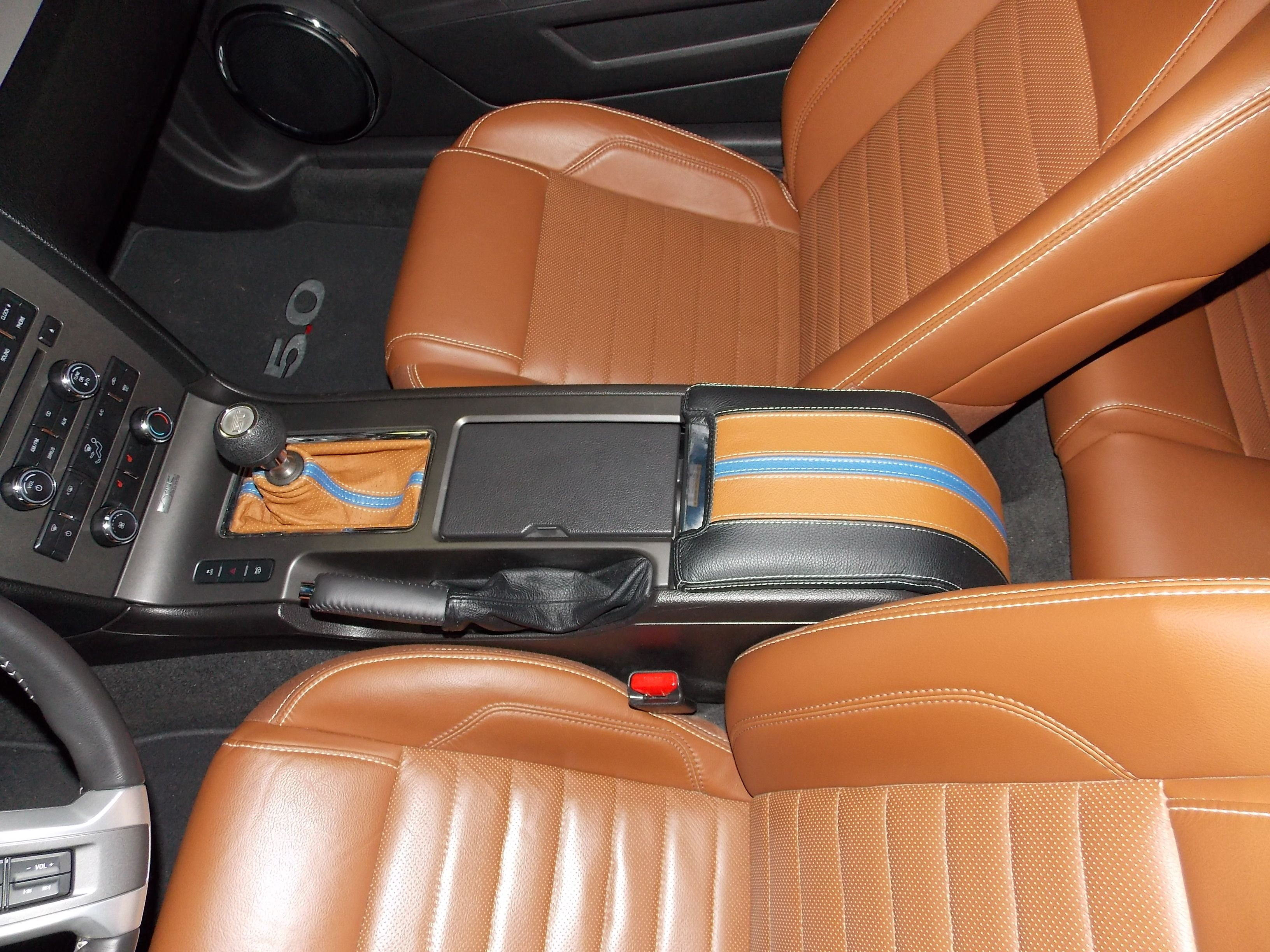 Redlinegoods shift boot console cover and black parking brake boot to match ford mustang gt
