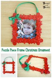 Homemade Christmas Ornaments Puzzle Piece Frame