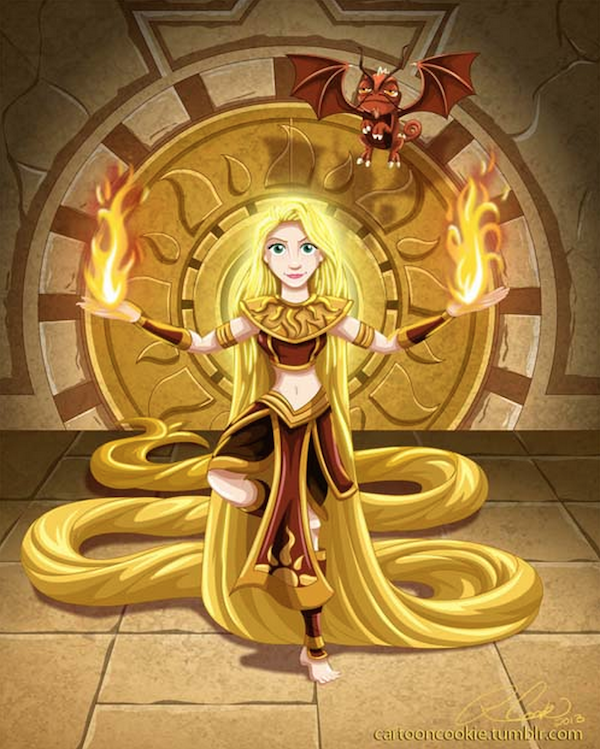 Rapunzel as a Sun Warrior (Disney Princesses Imagined As Characters In 'Avatar: The Last Airbender' - DesignTAXI.com)