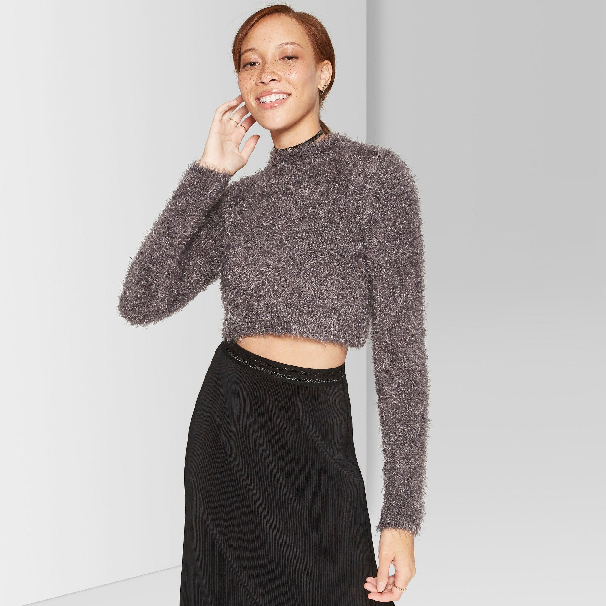 Women S Fuzzy Cropped Mock Neck Sweater Wild Fable Gray Xxl In