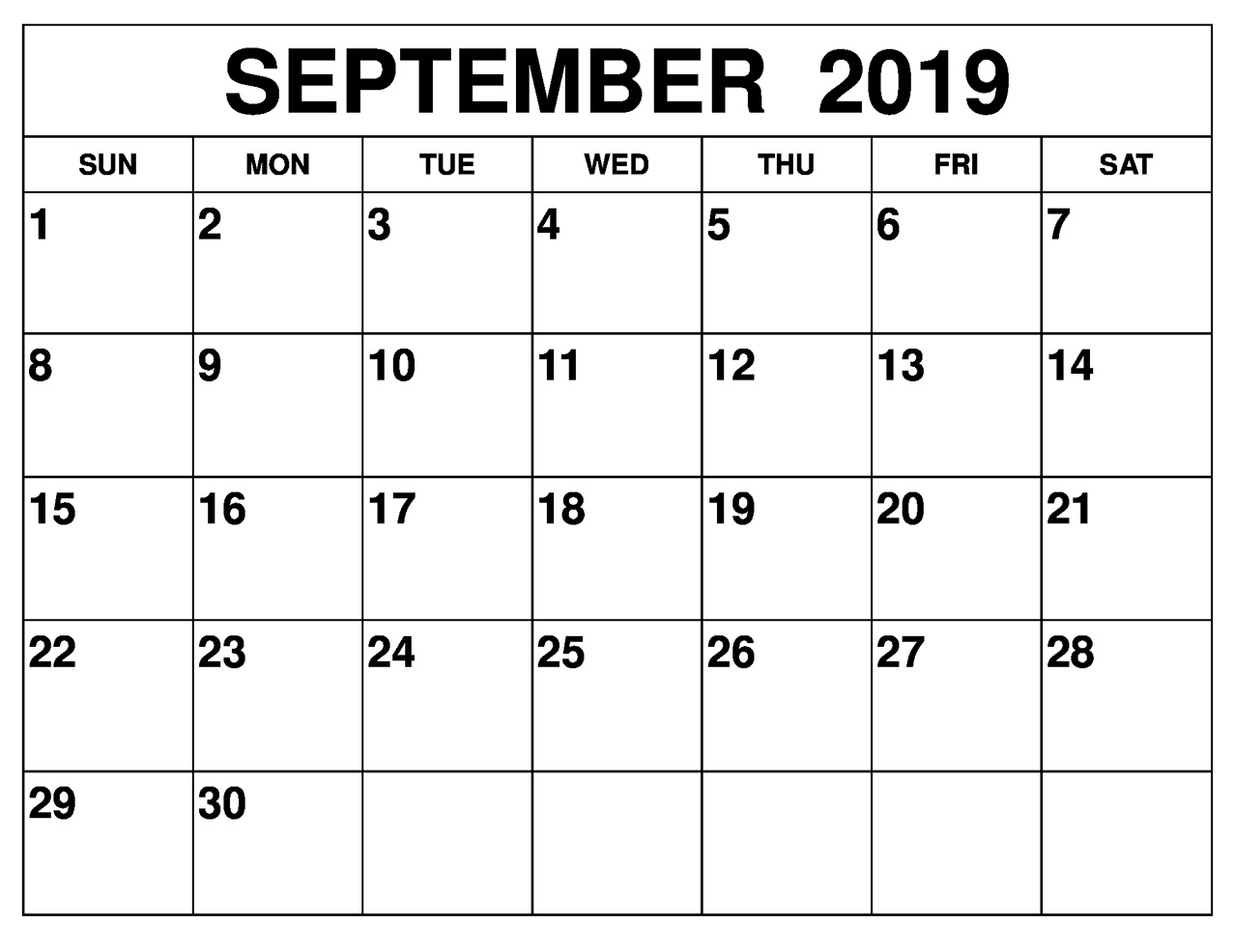 photo regarding Printable September Calendar named Blank September 2019 Calendar Printable Free of charge Down load