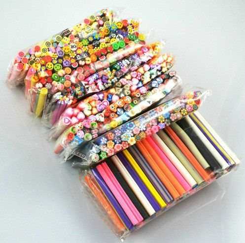 50pcs polymer clay cane for nail art design mix