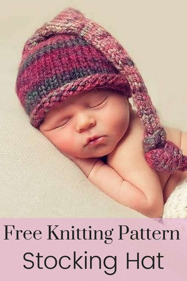 Free Stocking Hat Knitting Pattern Baby Knitting Pinterest
