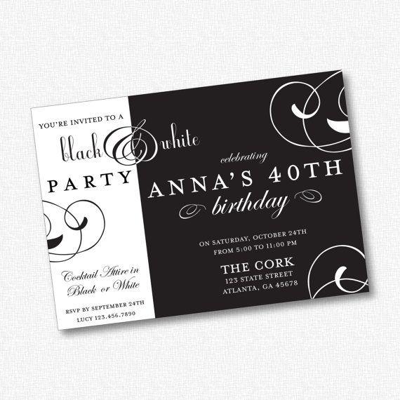 black white party invitation