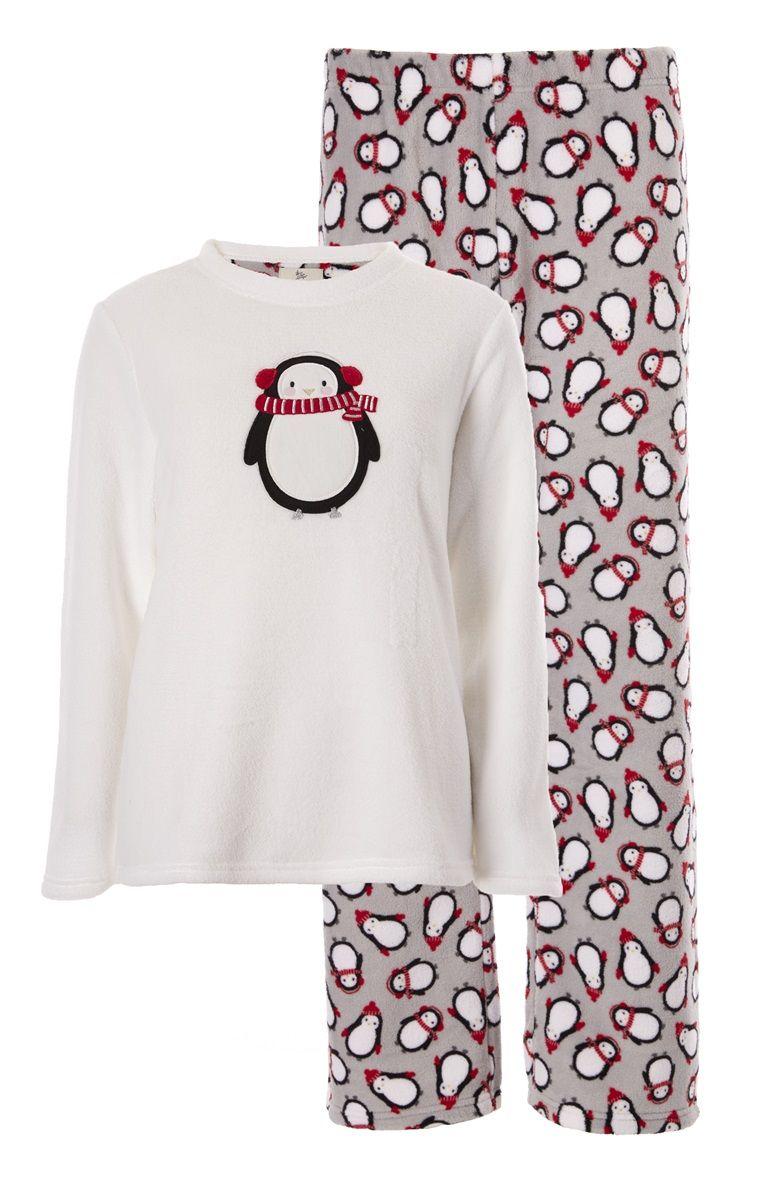 5f25fd5018 Pijama polar gris estampado de pingüinos
