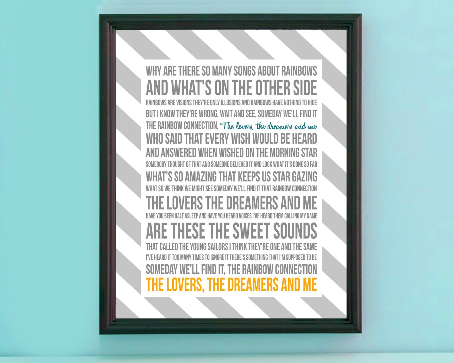 Song Lyric Poster - The Rainbow Connection - 11x14 - Gray ...