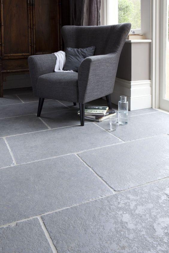 Grey Shade Worn Limestone Floors For A Living Room Grey Flooring Limestone Flooring Stone Flooring #stone #floor #for #living #room