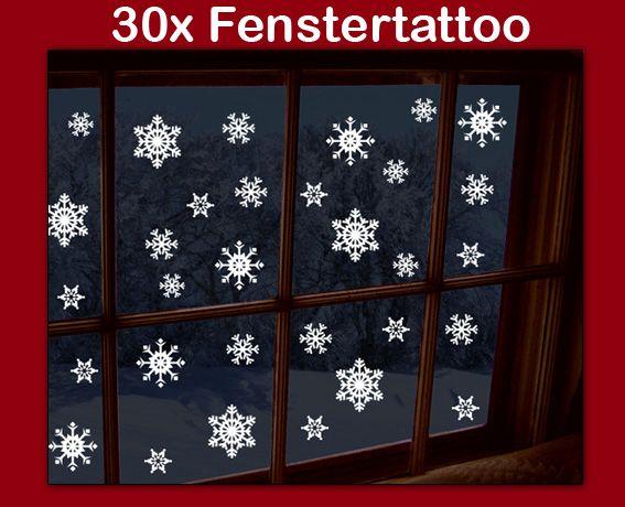 Epic Fenstertattoo x Schneeflocken Weihnachten Aufkleber Wandtattoo Wohnzimmer eBay