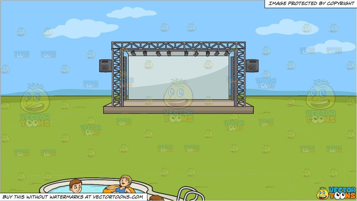Clipart Cartoon A Party Of Four Enjoying Swim And An Empty Outdoor