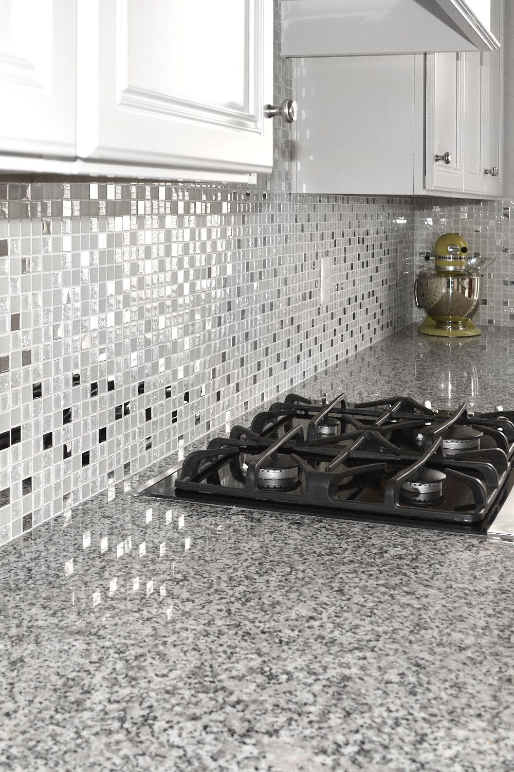 5 White Glass Metal Backsplash Tile Luna Pearl Granite