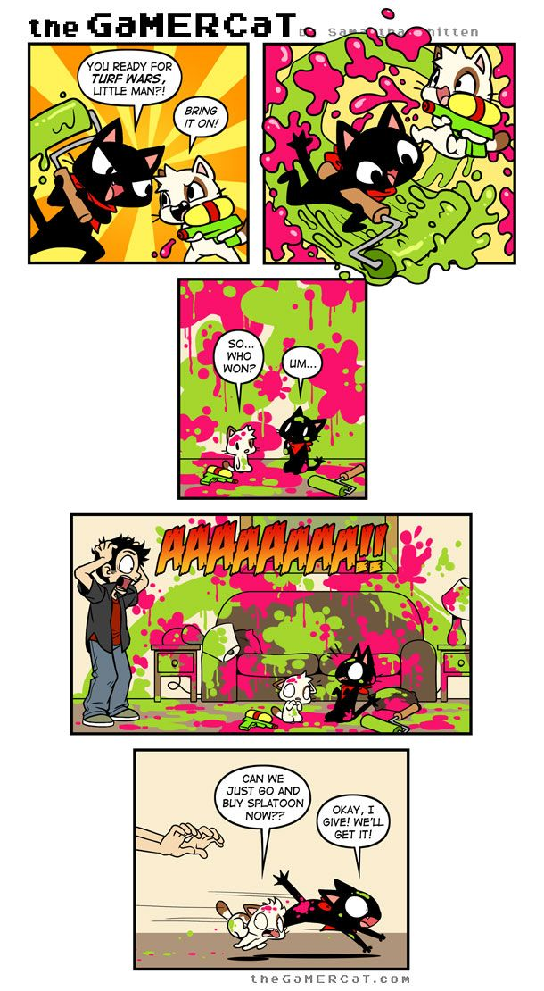splatoon Tumblr Splatoon Gamer cat, Cat comics, Fun