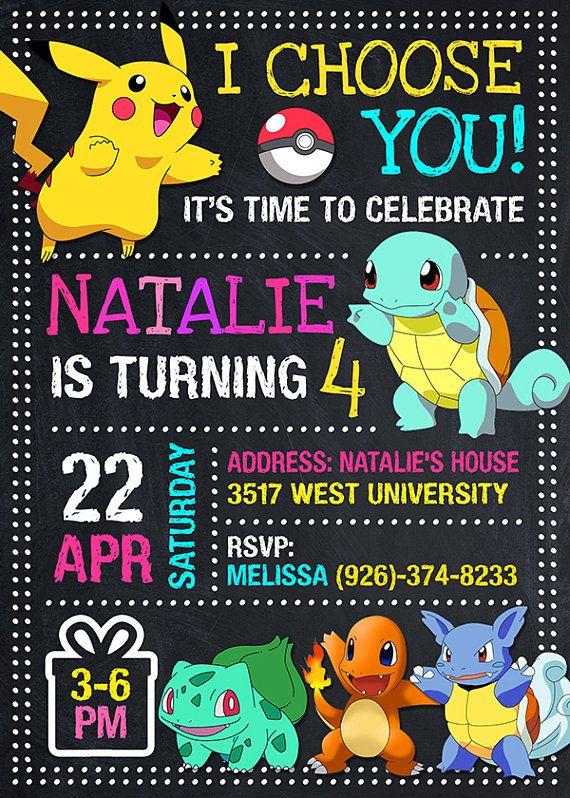 Pokemon Invitation Pokemon Birthday Pokemon Invite Pokemon Pokemon Party Pokemon Invitations Pokemon Birthday Invites