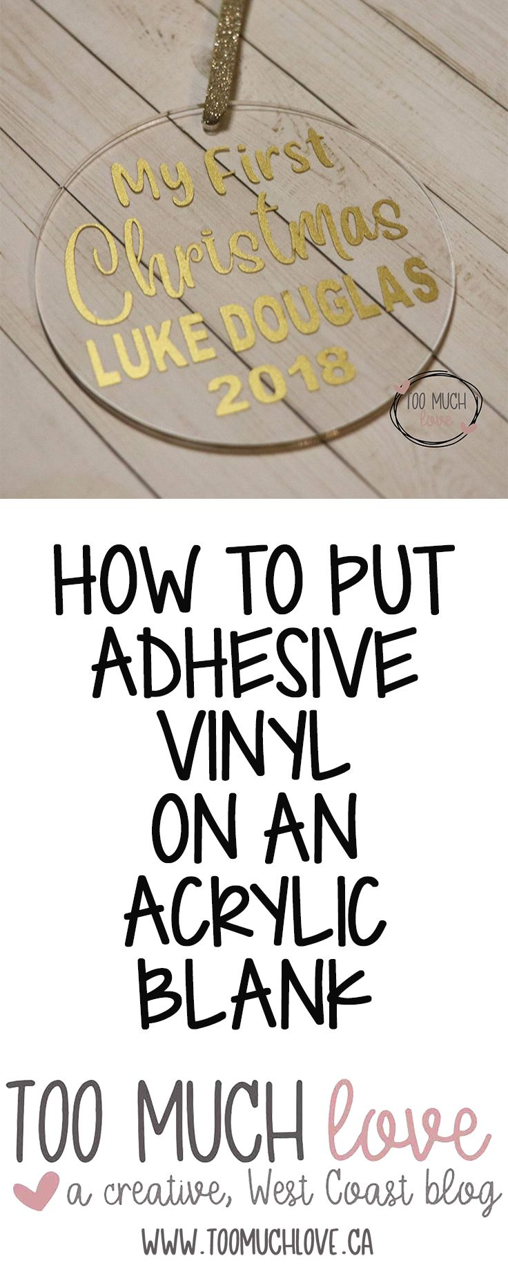 Quick and easy project! How to apply adhesive vinyl on an acrylic blank. Try some today! #cricutvinylprojects
