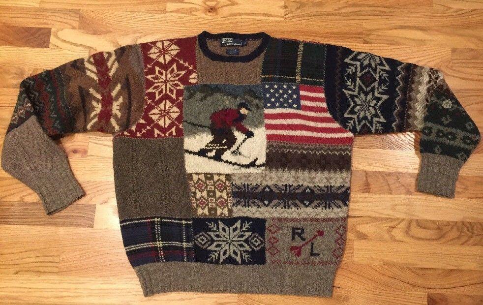 708c61798 Vtg 90s Polo Ralph Lauren American Flag Ski wool Hand knit patchwork sweater  L