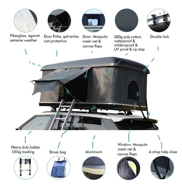 Source China 34 Person SUV Car Rooftop Tent Hard Shell