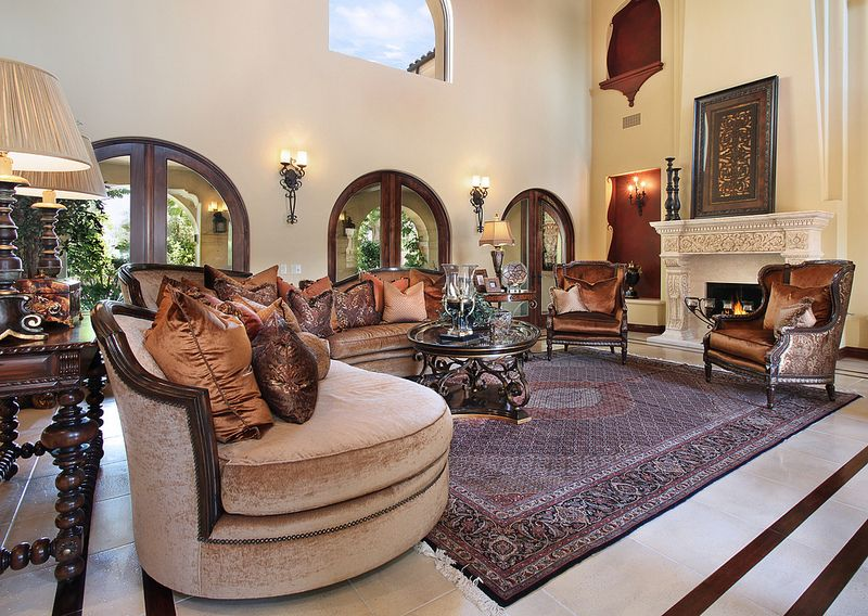 Mediterranean Style Home In Chino Hills, CA. Interior Design By Mashid  Fouladlou. Shown: Living Room. Photography By Jeri Koegel.